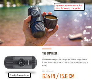image of a portable espresso machine from WACACO